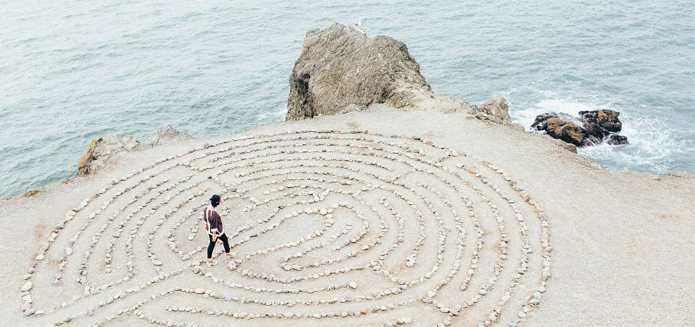 walking labyrinth as a way to reconnect and anchor with true Self